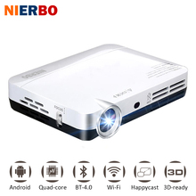 NIERBO Mini 3D Projecteur LED Full HD 1080 P Projecteur DLP Android Portable Projecteur Smart Home Cinéma de Poche avec Wifi HDMI USB