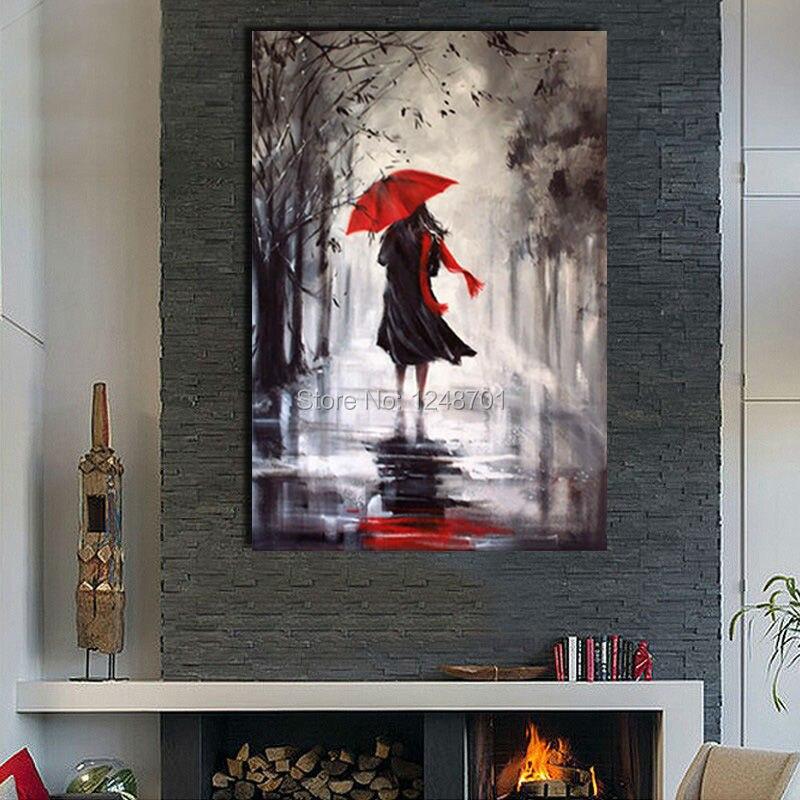 Ručně malované déšť den krajina olejomalba figurativní žena s deštníkem olejomalba na plátně pro domácí dekor