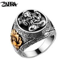 Таиланд Будда слон кольцо Аутентичные 925 пробы 100% серебряные кольца для мужчин винтаж в стиле панк Ганеша Ювелирные изделия