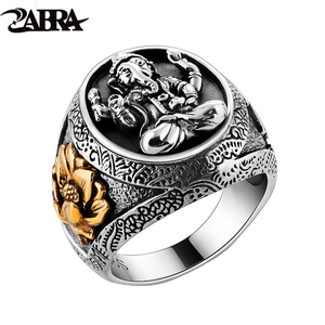 Image 1 - Thailand Buddha Elephant Ring Authentic 100% 925 Sterling Silver Rings for Men Vintage Punk Style GANESHA GANESH Men Jewelry