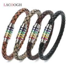 2019 Charm Leather Bracelets&Bangles Men Women Rainbow Stainless Steel Magnetic Clasps Real Cowhide Rope Bracelets Armband Gifts