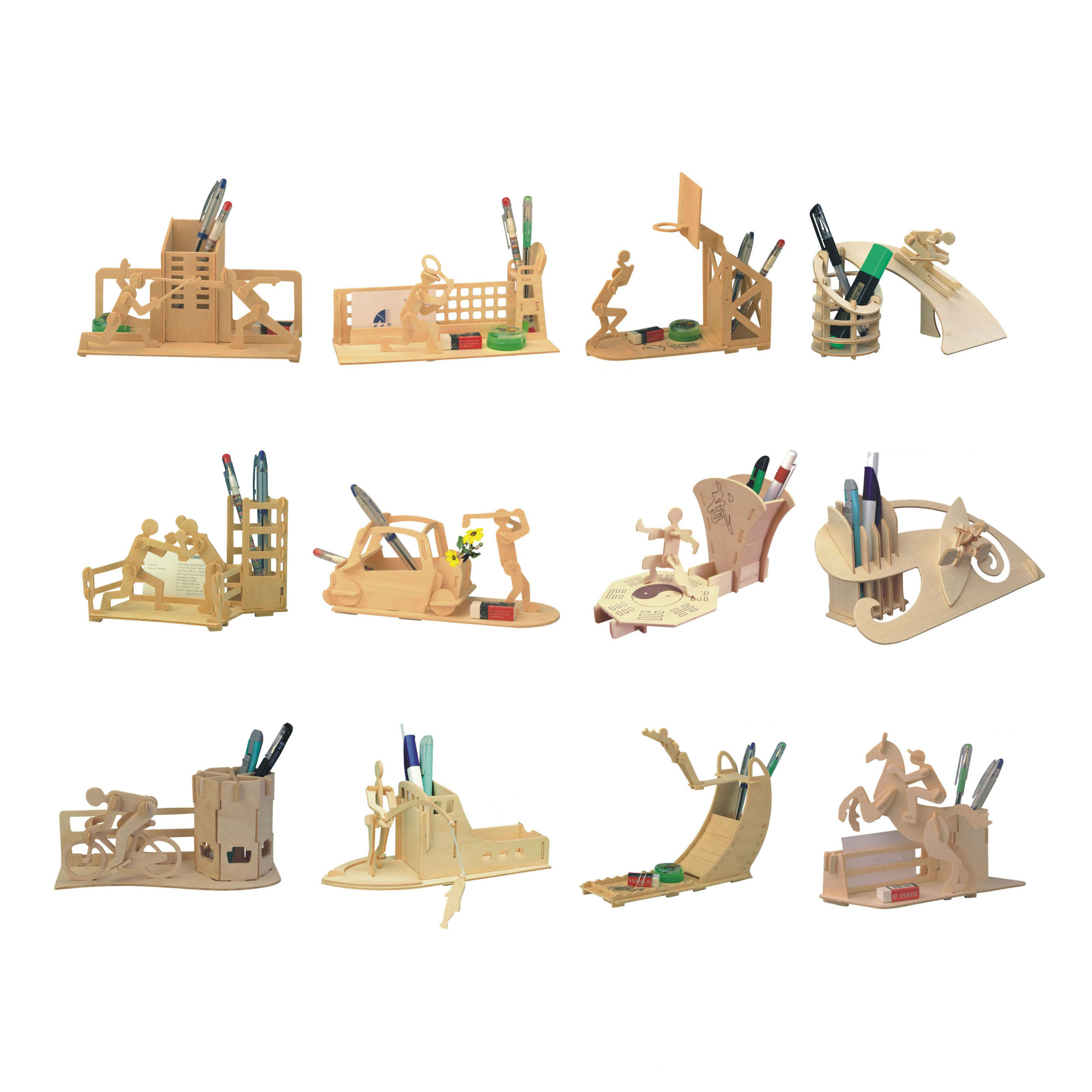 Chanycore Baby Learning Educational Wooden Toys 3D Puzzle Stationery Pen Holder Brush Pot Sports Basketball Tennis