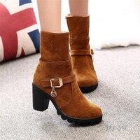 Ake Sia Ladies Shoes Sweet Winter Boots Women Metal Decoration Solid Plush PU Fur Round Toe