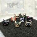 Moda 3D Ojo de gato Lindo de la Historieta Animal stud pendientes de la muchacha Chapado En oro lindo Pendiente de Gato Mujeres Exagerada Pendientes Stud Jewelr