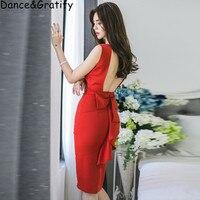 Hot 2019 Sexy Club Party Vestidos Women New Summer Sleeve Backless Bow Ladies Casual Midi Slim Bodycon Bandage Dress