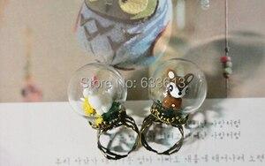 ¡Envío Gratis! Top caliente 25*15mm cubierta de vidrio Vial colgante y anillo conjunto Vial chica bosque serie vidrio globo bombilla botella de vidrio