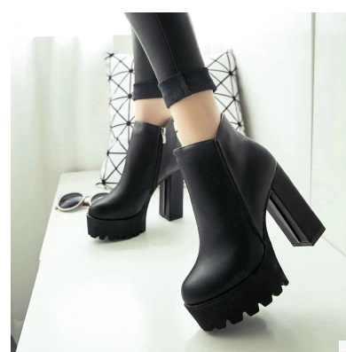 SLYXSH แฟชั่นผู้หญิงด้านซิปข้อเท้ารองเท้าแพลตฟอร์มรองเท้าส้นสูงหนา 12 เซนติเมตรสุภาพสตรีฤดูหนาวรองเท้าผู้หญิงสีดำ boot