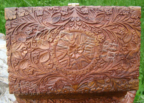 Indian Pakistan Rose Wooden Handicrafts Jewelry Box Carved