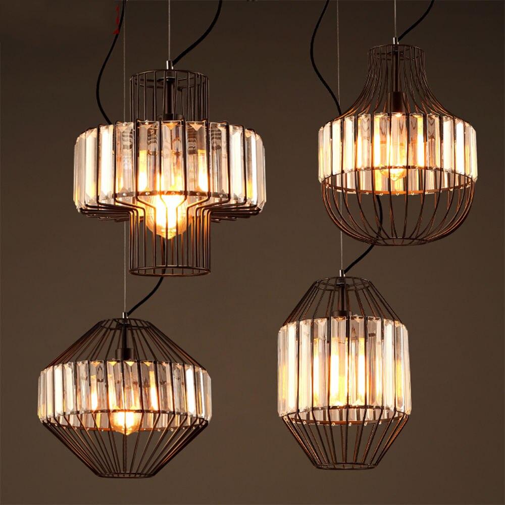 Retro Vintage Crystal Iron Birdcage E27 LED