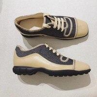 Осень Дамская обувь Ete 2018 квадратный носок Винтаж Повседневная парусиновая обувь Для женщин на низком каблуке на шнуровке вулканизируют ту