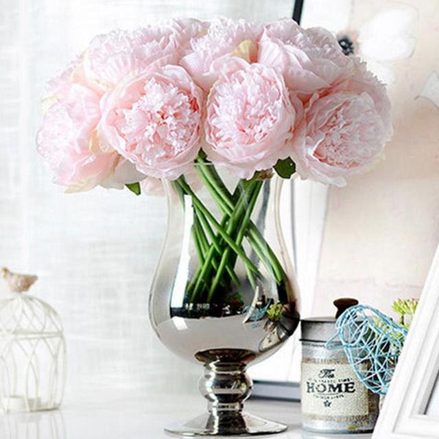 Simulation DIY 5 Heads Peony Bouquet Artificial Flower Wedding Party ...