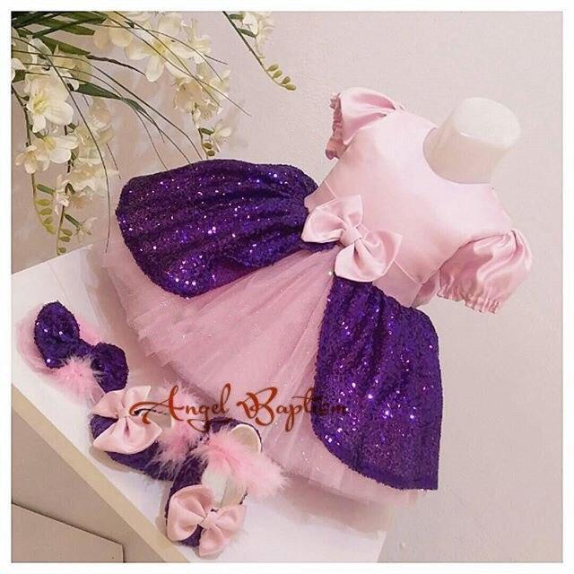 Rose mignon enfant en bas âge pageant à manches courtes robe violet sequin tulle robe de bal petits enfants thanksgiving bébé tenues d'anniversaire
