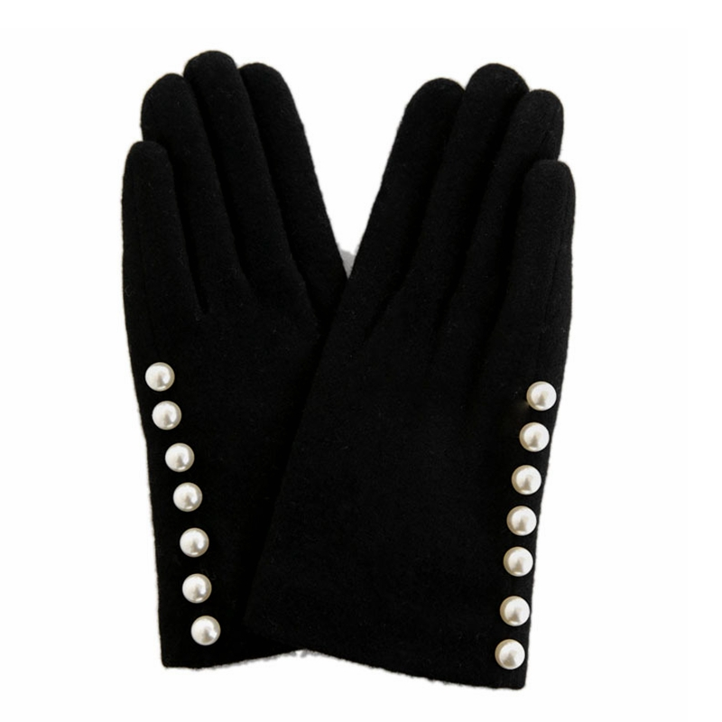 Gloves Women Winter Wool Elegant Mittens Pearl Fingerless Gloves Touch Screen Female Driving Gloves Gants Femme Handschoenen
