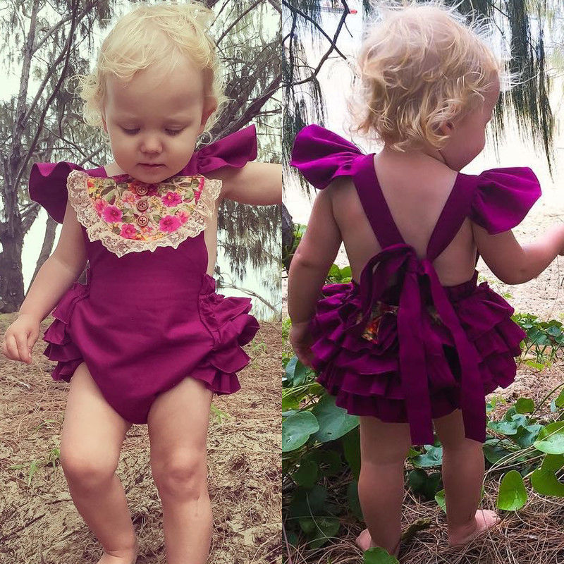 2017 Cute Newborn Baby Girl Clothes Summer Ruffles Lace Romper Bodysuit Headband 2PCS Sets Outfit Sunsuit Princess Girls Costume