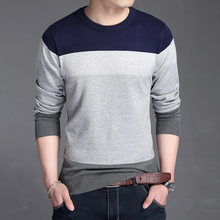 Men's Sweater Fashion Slim Fit Casual Men Sweater Knitted Mens Sweaters Pull Long Sleeve Patchwork Pullover Asian Size 3XL(China)