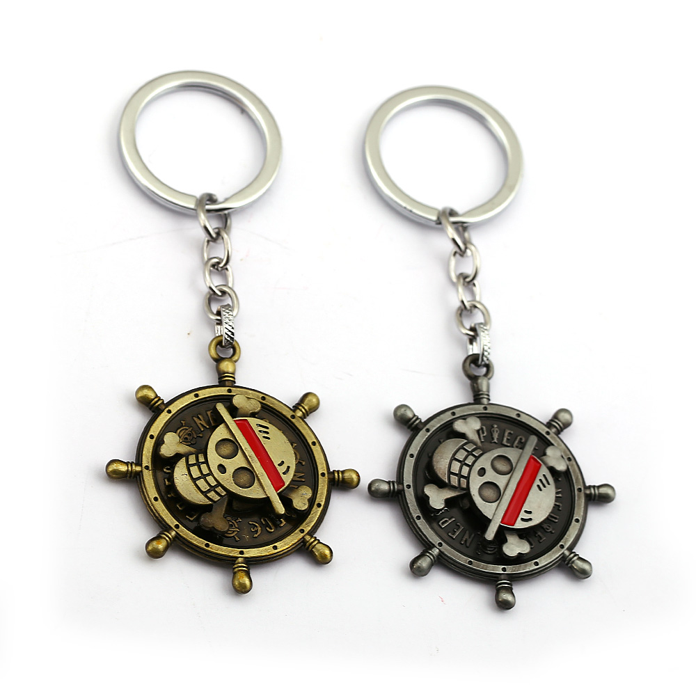 ONE PIECE Luffy Skull Rudder Model Keychain Keyrings Antique Metal Key Chain Rotatable Pendant Key Ring Kids Gift Anime Jewelry