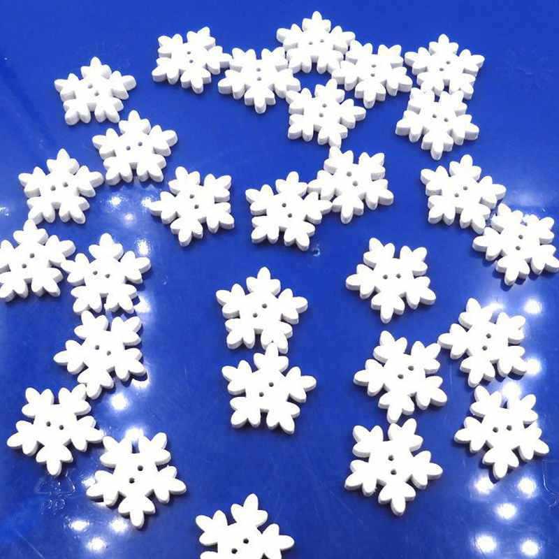 100 個かわいいクリスマスクラフト縫製スノーフレークボタン白雪フレークスクラップブックボタンクリスマス装飾用品