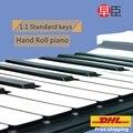DHL Navio Roll up 88 teclas midi profissional silicone macio rolo mão teclado de piano eletrônico Instrumentos de teclado Musical