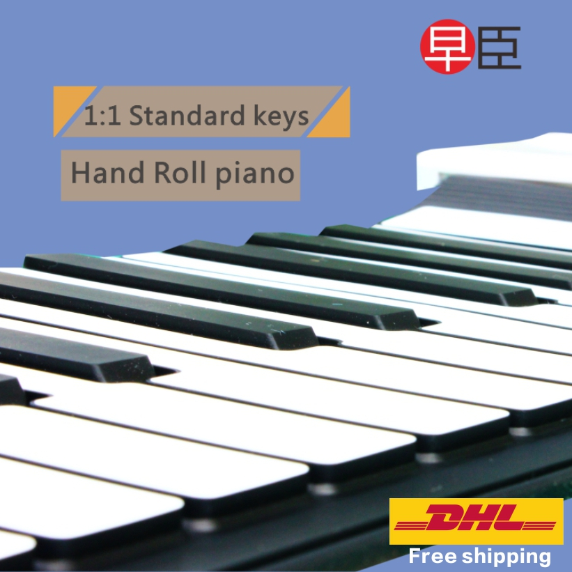 цена на DHL Ship Roll up 88 keys professional soft silicone midi electronic hand roll piano keyboard Musical keyboard Instruments