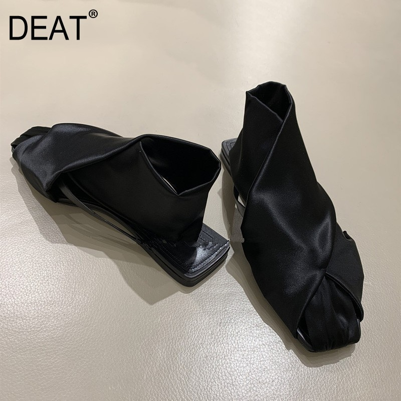 DEAT 2019 New Spring Summer Square Toe Shallow Silk Cross Band Casual Flat Cool Personality