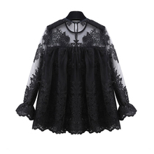 2017 European style hollow out lace women blouses fashion embroidery floral round collar petal long sleeve Female Shirts E87
