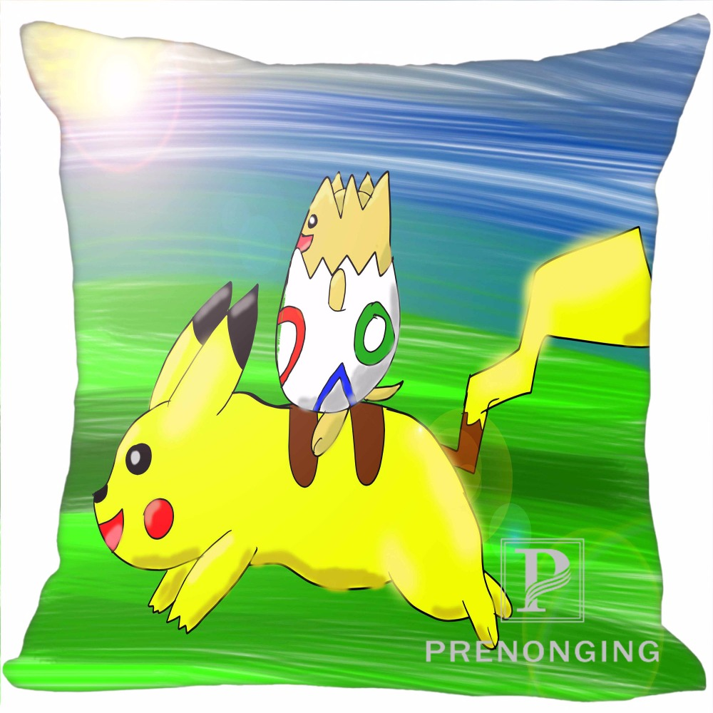 Custom Pillowcase Cover Pokemon Cute Pikachu Square Zipper Pillow Cover Print Your Pictures (one Side) 180117#41