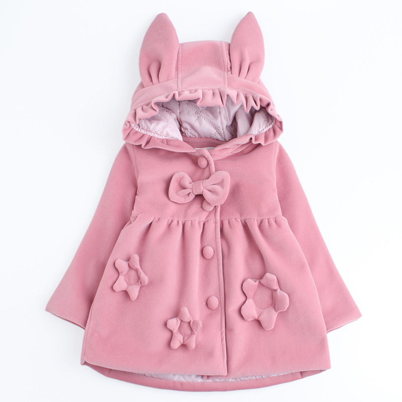 Baby Girls Winter Jackets Warm Faux Fur Fleece Coat Children Jacket Rabbit Ear Hooded Outerwear Kids Jacket for Girls Clothing цены