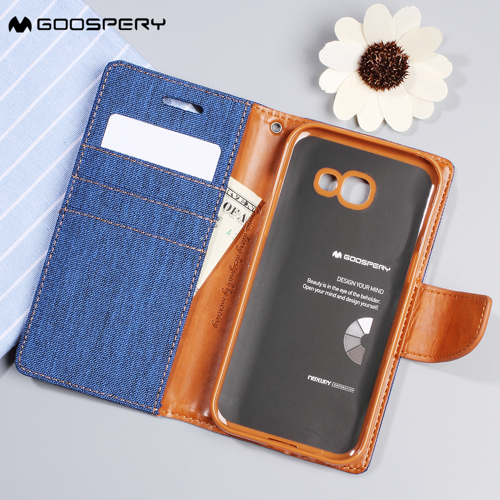Mercury Goospery For Samsung Galaxy A5 2017 Case Stand Canvas J5 Prime Diary Blue 1 X Leather Wallet