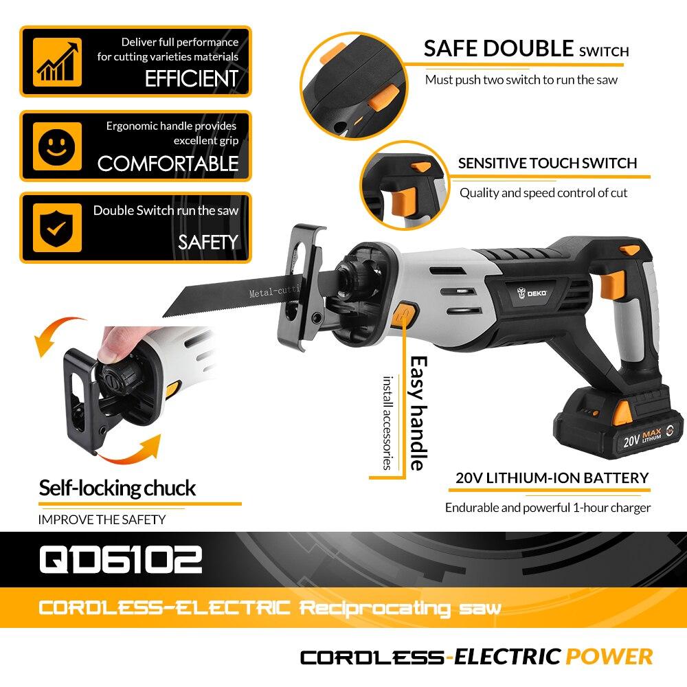 Scie alternative sans fil DEKO 20V originale scie électrique à vitesse réglable avec batterie et lames de 4 pièces - 2