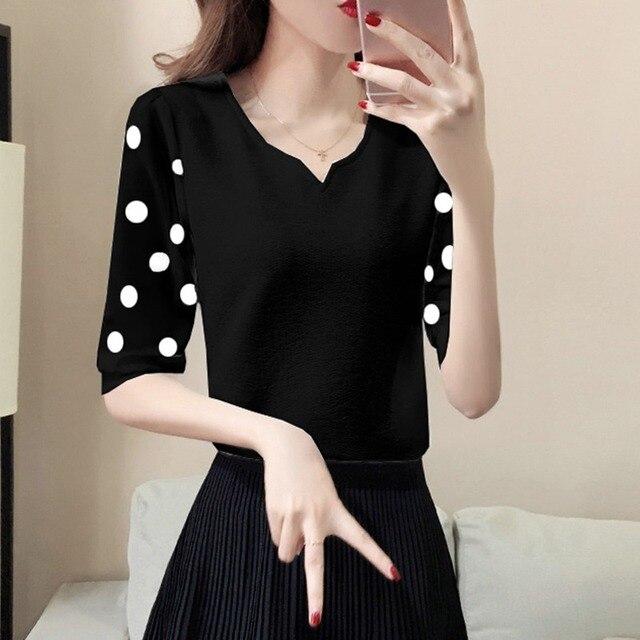 Las mujeres de manga corta de gasa blusa de Jersey de punto con cuello en V camisa de encaje damas elegante blusas