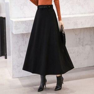 Image 3 - 2020 Winter Woolen Maxi Skirts For Women Vintage With Belt High Waist Skirt Female Casual Streetwear Long Skirt Khaki Red Black