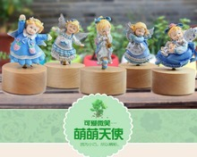 New arrival cute lovely angel rotating music box wood base music box honey gifts for mother
