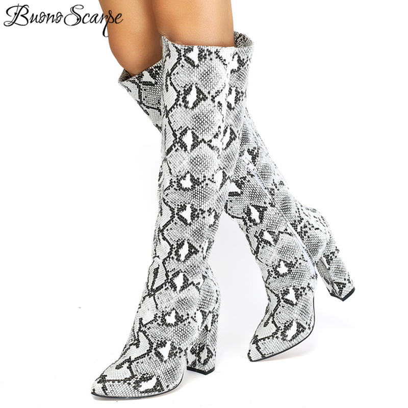 Buono Scarpe Slip On High Heel Snake Print Long Boots Mixed Animal Print Shoes Sexy High