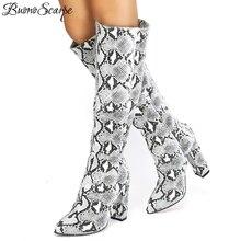 42722604 Buono Scarpe deslizamiento en tacón alto serpiente estampado Botas mezclado  impresión Animal zapatos Sexy tacón alto largo Botas.