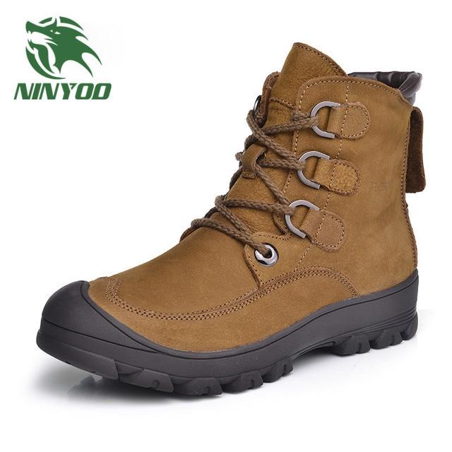 NINYOO Wearproof Men Winter Boots Genuine Leather Snow Boots Waterproof Outdoor Ankle Winter Shoes Men Anti-cold Plus Size 48 49