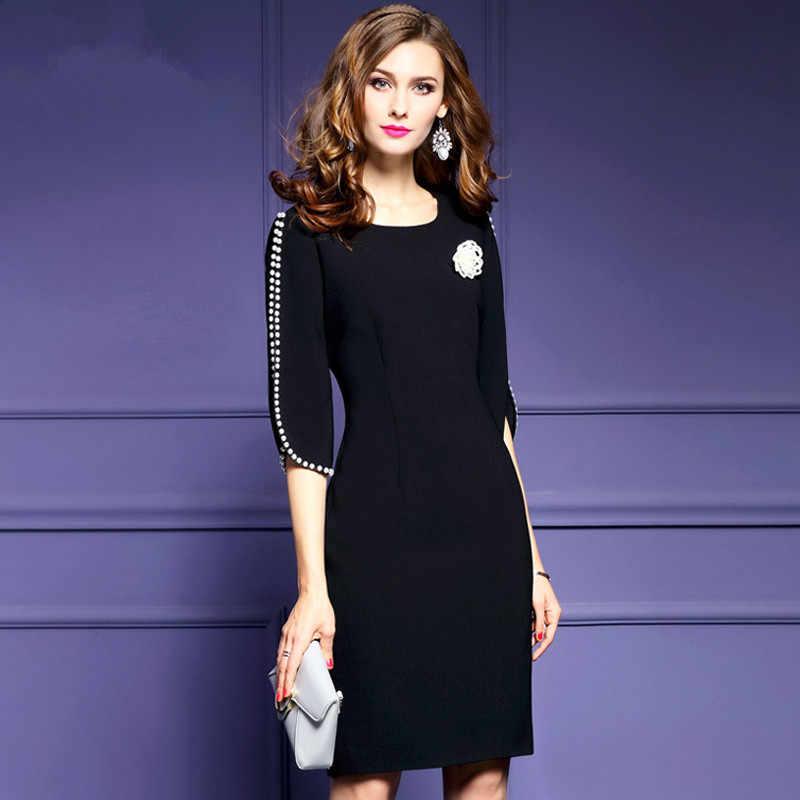 2017 Женская одежда, новинка, весна-лето, модное однотонное платье с разрезом, с цветочным рисунком, рукав до локтя, Круглый ворот, винтажные платья для женщин