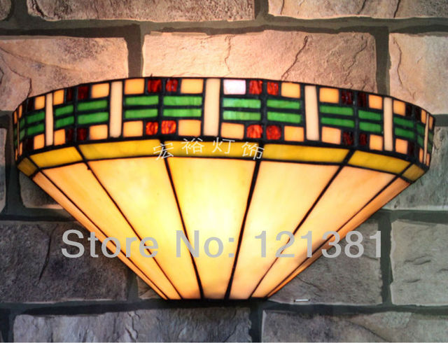 Mission Style Tiffany Wall Lamp Stained Glass Lampshade Wall ...