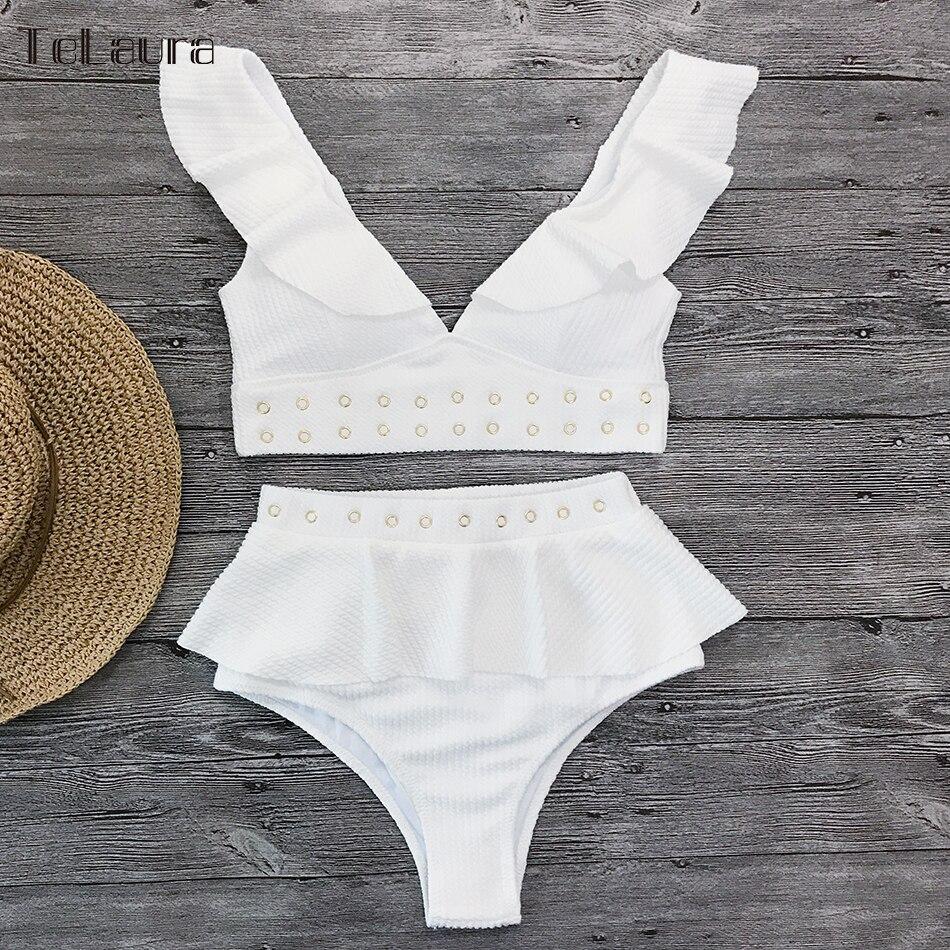 2019 New High Waist Bikini Swimwear Women Swimsuit Push Up Bikinis Women Bathing Suit Biquini Ruffle Bikini Summer Beach Wear