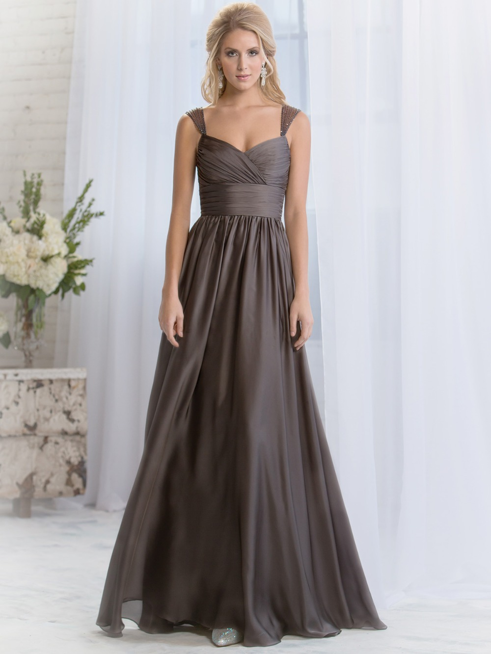 Modest Y Chiffon Beading Dark Brown Wedding Guest Dress Maid Of Honor Dresses Long Bridesmaid In From Weddings Events On
