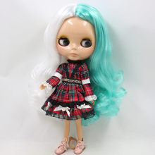 Neo Blythe Doll Red Plaid Lace Pearl Dress