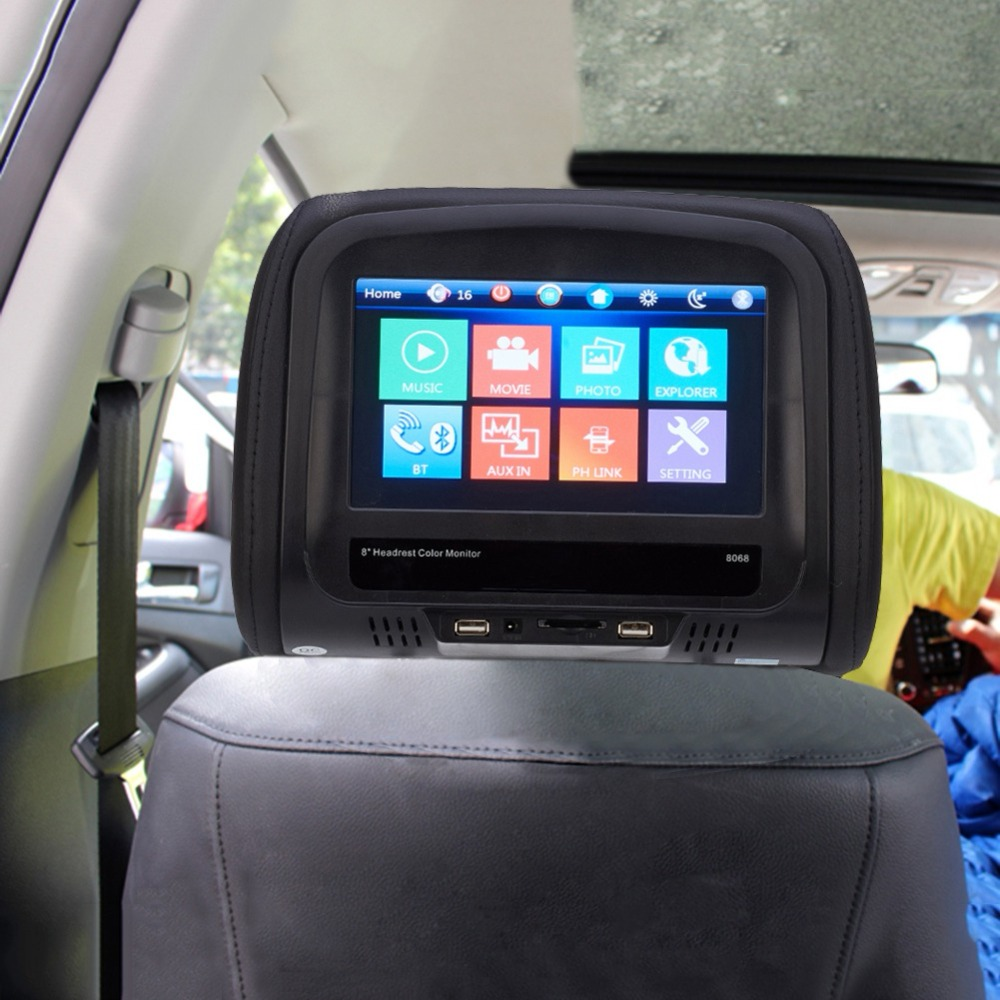 8 Inches Car Headrest Monitor MP5 Pillow Monitor With Bluetooth IR FM Support 1 Video Input