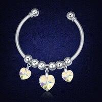 קריסטלים סברובסקי תכשיטי צמידי צמידי אופנה חדשה שרשרת פתיחת צמיד צמידים לב לנשים