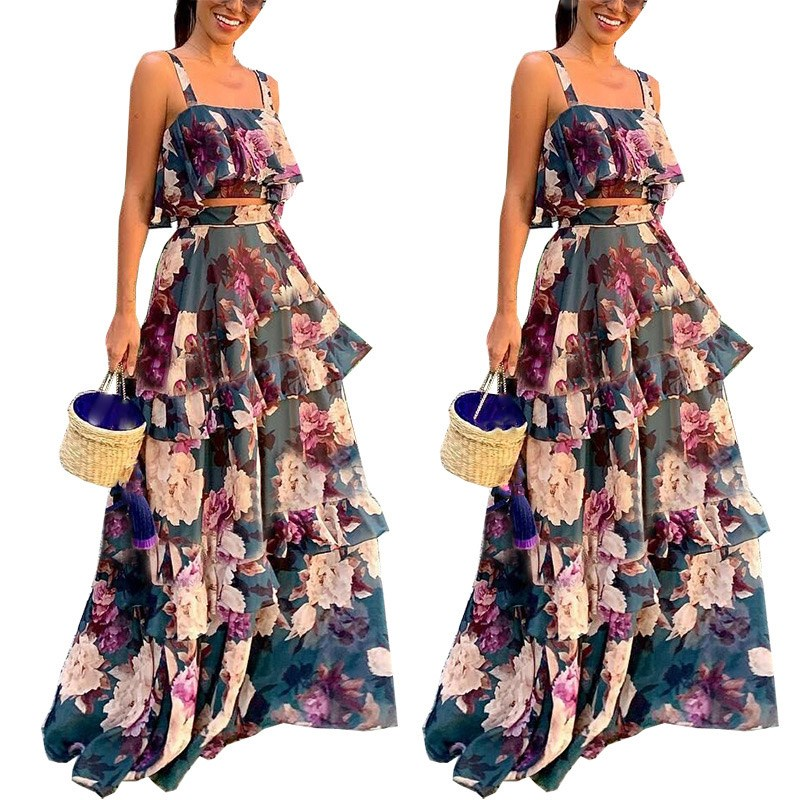2019 Sexy Women Boho Two Piece Set Crop Top Long Skirt Floral Printed Sets Cascading Ruffle Casual Outfits
