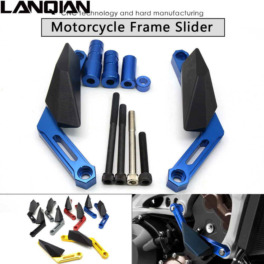 Motorcycle Frame Sliders Crash Engine Protection Pad Aluminium Side Shield Protector For Yamaha MT09 Tracer FZ MT 09 2014-2016