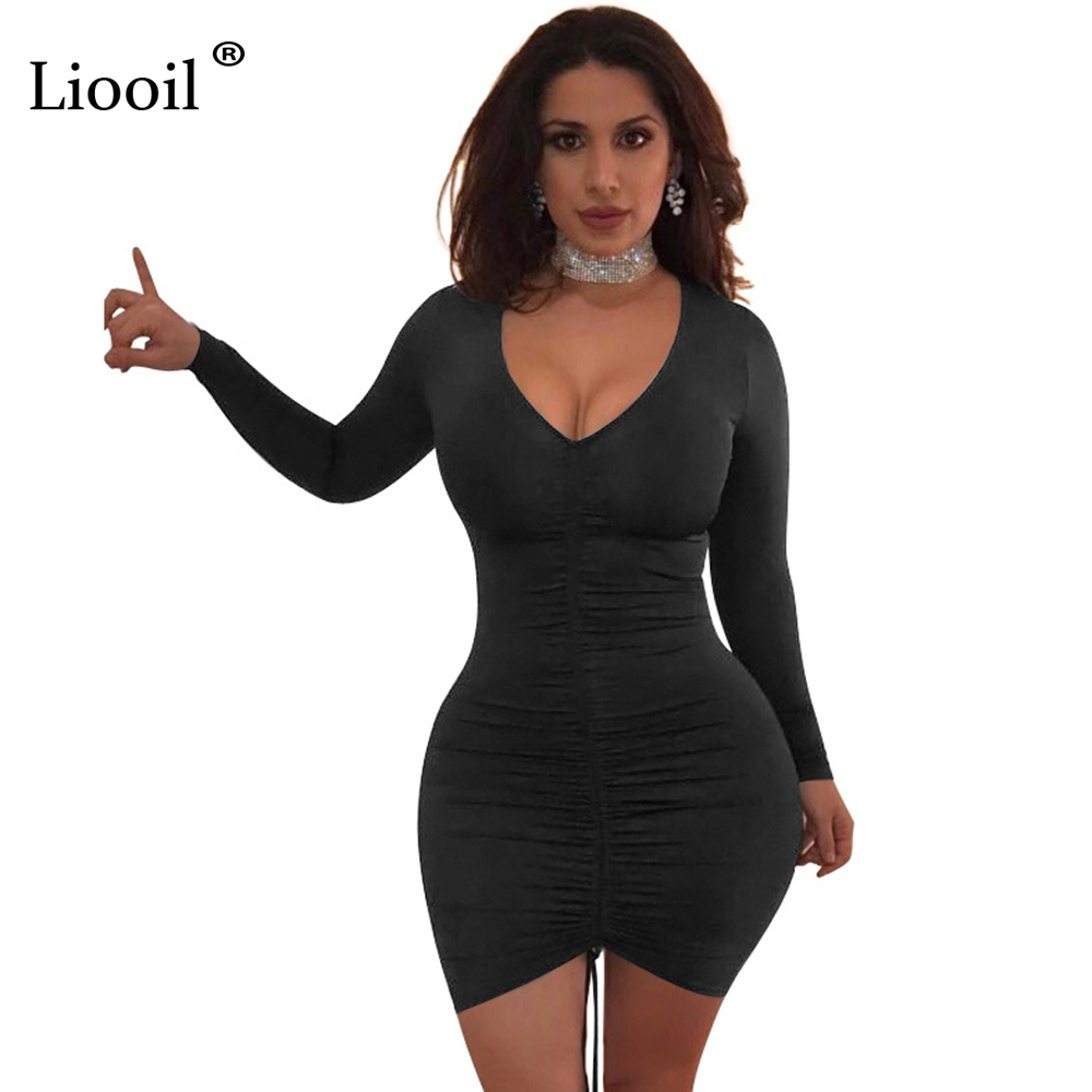 2ca2b5dc35e8 Liooil Women Bodycon Dress Long Sleeve Deep V Neck Draped Spandex Drawcord  Sexy Club Party Dresses Black White Blue Winter Wear