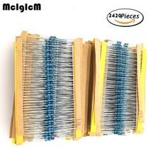 1/4w resistors pack 121 values x 20pcs = 2420pcs 0.33 - 4.7M 1% full range resistors assortment kits цена