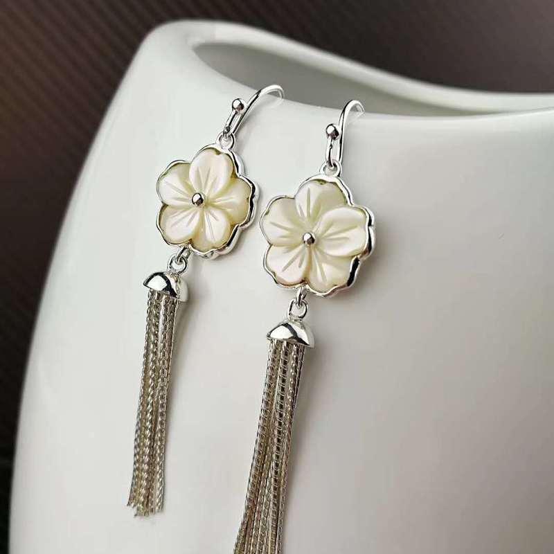 Et tempérament coréen Simple gland fleur coquille boucles d'oreilles esthétique fleur de cerisier élément boucles d'oreilles pour petite amie