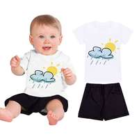New 2017 Summer Girls Boys Sun Cloud Rain Print Children Clothing Set Baby Clothes Short Sleeve