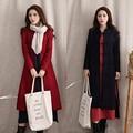 Мода Осень Зима шерстяной верхняя одежда женский Брестед сгущает Длинные Пальто для Женщин плиты кнопки пальто YL128