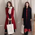 Fashion Autumn Winter woolen outerwear female Breasted thicken Long Trench Coat for Women plate buttons overcoat YL128